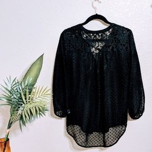 Daniel Rainn Black Long Sleeve Peasant Blouse Sz M